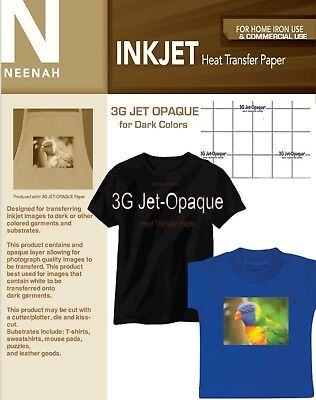 Neenah 3g Inkjet Heat Transfer Paper For Dark Colors 8.5x11 Sheets. 25 Sheets