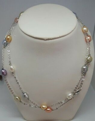 """New! HONORA  CRUSH TIN CUP NECKLACE 36"""" WATERLILIES STERLING SILVER PASTELS"""