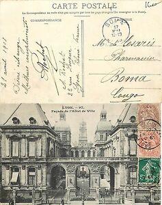 2255 - Francia - Cartolina da Lione a Boma (Congo), 22/04/1908 - Italia - L'oggetto può essere restituito - Italia