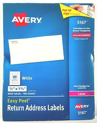 Box Of Avery 5167 Address Mailing Shipping Labels 8000 Labels 100 Sheets 52