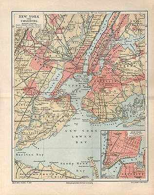 NEW YORK und Umgebung Brooklyn Landkarte von 1896 Map Jamaica Bay Coney Island
