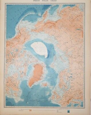 NORTH POLAR CHART PUBLISHED BY W. & A.K. JOHNSTON  1912.