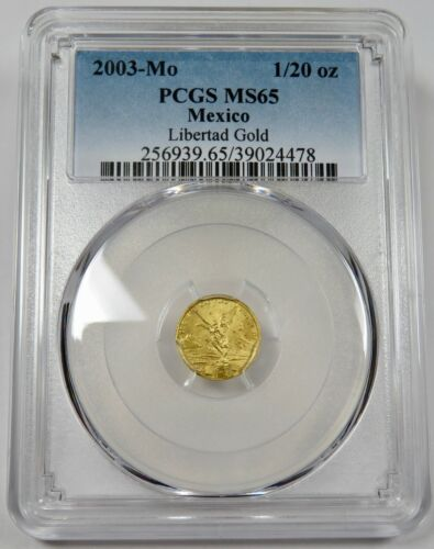 2003-Mo PCGS MS65 Mint State Gold 1/20 oz Libertad Mexico Coin #25279A