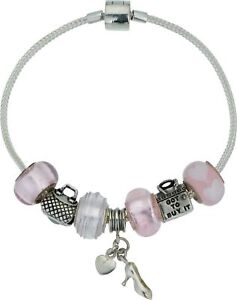 New 925 Sterling Silver Pink Bracelet with Charms & Beads Rhona Sutton 20 cm