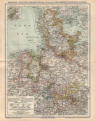 Hannover  Schleswig - Holstein Oldenburg Preussische Provinzen Landkarte 1884
