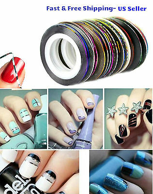 10 Color Rolls Nail Striping Tape Line Tips Sticker Nail Art Decoration Manicure