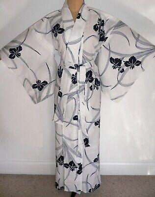 QUALITY VINTAGE JAPANESE YUKATA COTTON KIMONO ADAPTED TO DRESSING GOWN +belt