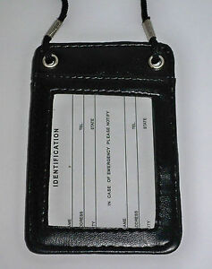 Black Faux Leather Double Sided ID Card Holder with Lanyard