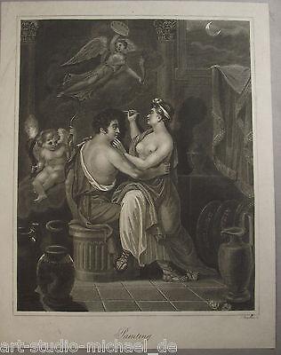 """""""Die Erfindung der Zeichenkunst"""" Kupferstich von J. Chapman"""