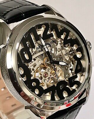 Stuhrling Rosary Skeletonized Black Floating Numerals Automatic Mens Watch
