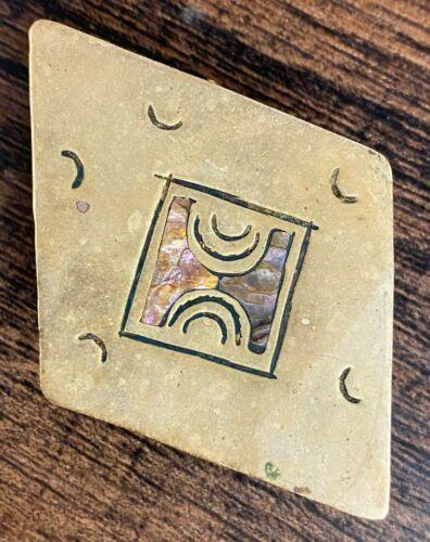 Vintage Mexican Abalone & Alpaca Hinged Jewelry Mini Trinket Box