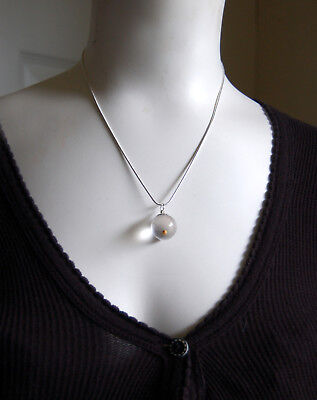 Mustard Seed Necklace Sterling Chain  Gift Box  Easter  Mothers Day Vtg Mustard