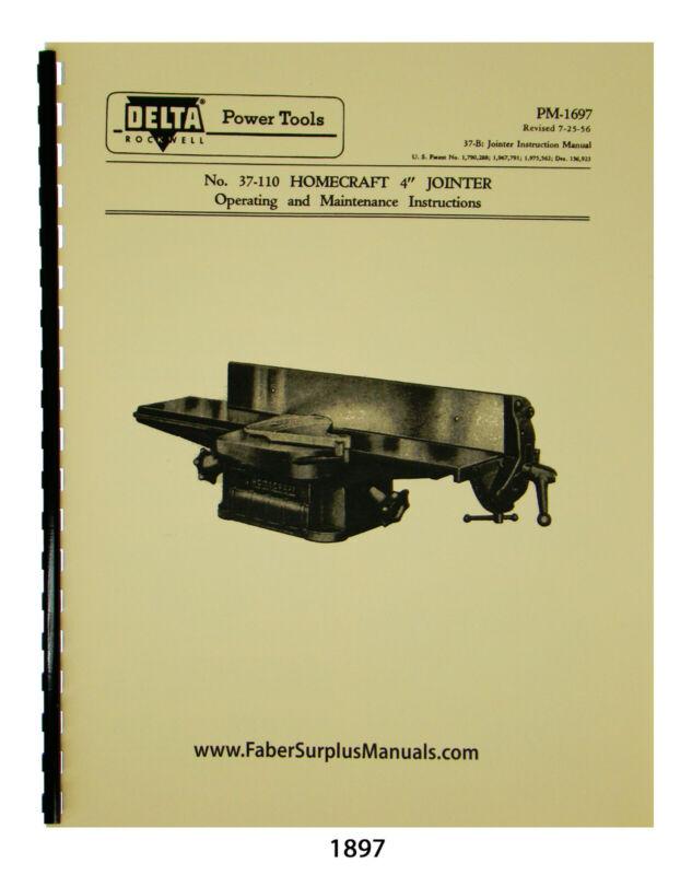 "Delta Homecraft 4"" Jointer Operating, Maintenance, & Parts List Manual #1897"