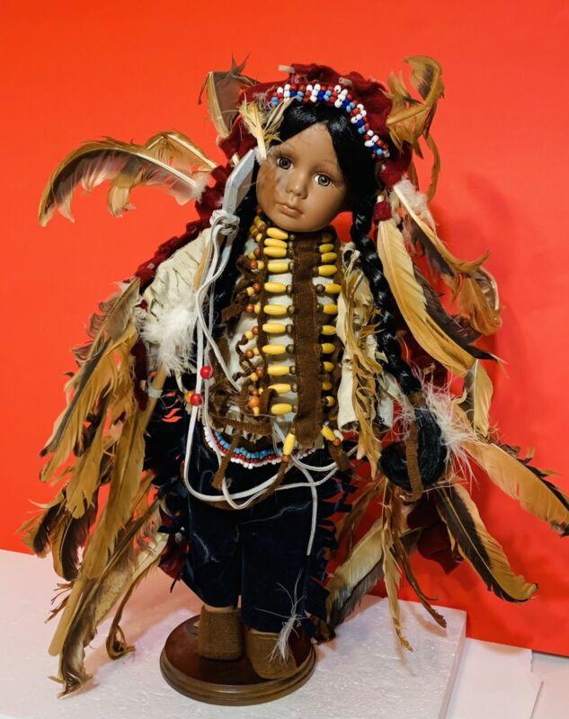 "GEPPEDDO Porcelain Native American Indian Girl Doll 16"""