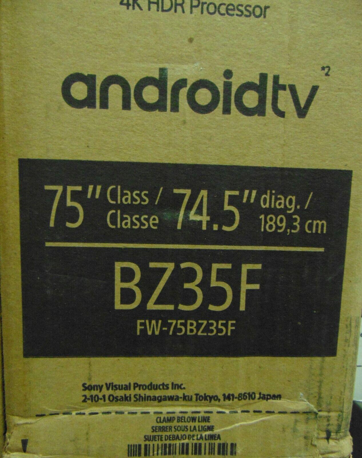 "Sony FW-75BZ35F 75"" Bravia LCD Professional Display 4K HDR10 4x HDMI FW75BZ35F"