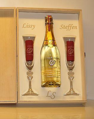 Goldtraum Set Sekt Gläser Spiegelau /Flasche/Holzkiste alles mit Gravuren