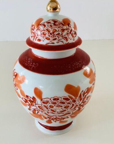 JAPAN RED AND ORANGE FLOWER GINGER JAR WITH GOLD TRIM