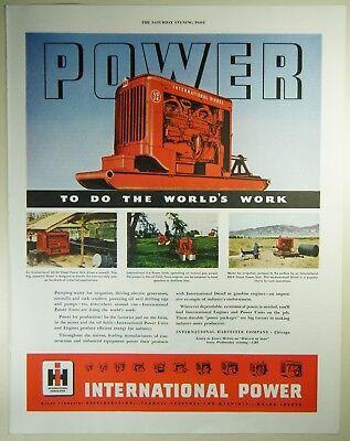 Vintage 1949 INTERNATIONAL HARVESTER POWER Lg Magazine Print Ad