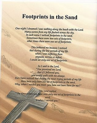Footprint In The Sand Verse Inspirational Poem Plaque Laminated (can be framed)