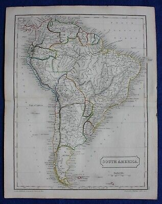 Original antique atlas map of SOUTH AMERICA, Samuel Butler, 1844