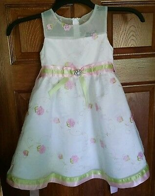 GIRLS FANCY SHORT SLEEVE DRESS SIZE 5 EMBROIDERED FLOWERS TULLE EXC CONDITION