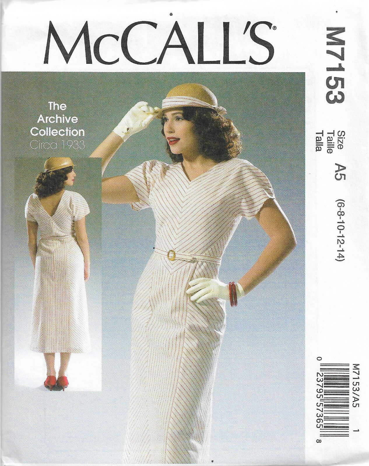 Retro dress SEWING PATTERN, tea dress M7153, 1930s 1940s style ...