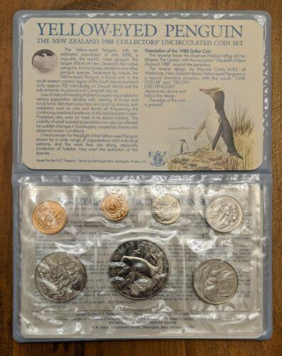 1988  NEW ZEALAND UNCIRCULATED 7 COIN SET - PENGUIN  BIRD  DOLLAR