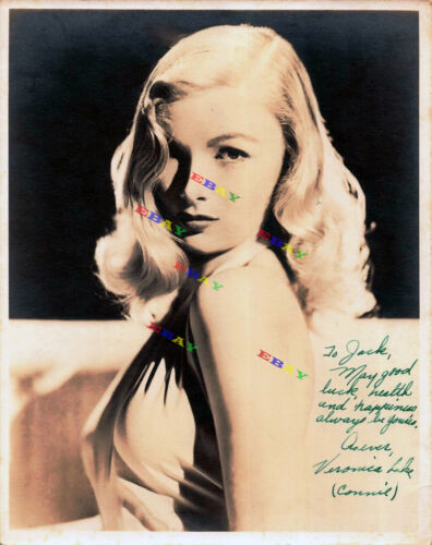 Veronica Lake Vintage Autographed Signed 8x10 Photo Reprint