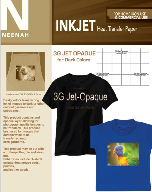 Neenah 3G Jet Opaque Heat Transfer Paper for Dark Colors 8.5x11 (10 sheets)