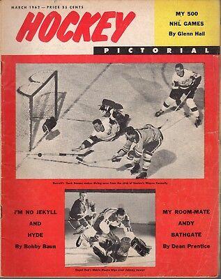 1962 (Mar.) Hockey Pictorial Magazine, Hank Bassen, Detroit Red Wings ~ Fair