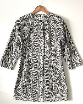 CAbi #3034 SMALL Zig Zag Ponte Knit Jacket Coat S Spring 2015 Black White Trench for sale  Shipping to Canada