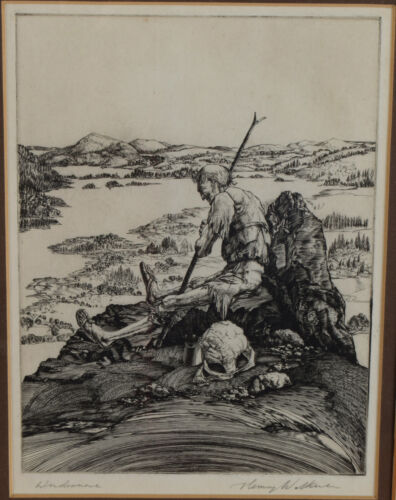 Henry Wilkinson Engraving Etching Windermere signed and titled