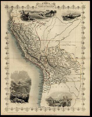 Peru Bolivia South America c.1855 Tallis map