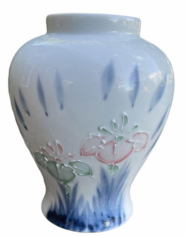 """Vintage Pale Blue Porcelain Vase Floral Ginger Jar Motif Pink Blue Flowers 6"""""""