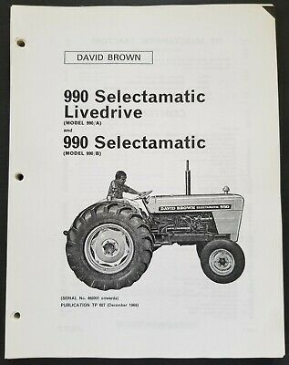 David Brown - 990 Selectamatic Tractors Dealer Parts Book Manual - 1969