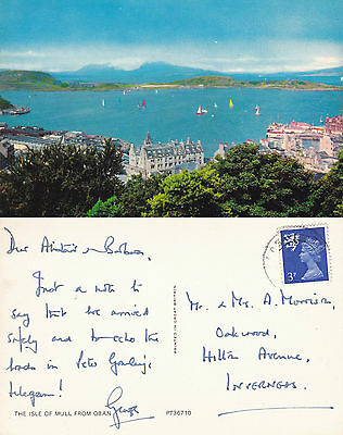 1970's THE ISLE OF MULL FROM OBAN SCOTLAND COLOUR POSTCARD