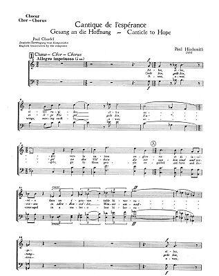 9 x  Paul Hindemith: Gesang an die Hoffnung. Ausgabe: Chorpartitur - Noten
