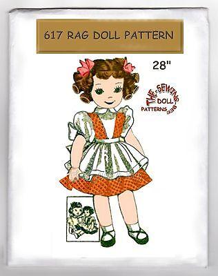 617 old Rag Girl DOLL & Clothes Pattern vintage ()