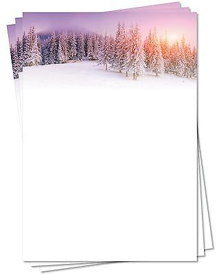 Motivpapier Briefpapier (Winter-5158, DIN A4, 25 Blatt) Bäume Winterlandschaft
