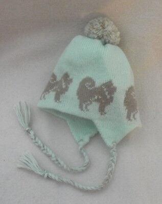 BABY HAT with a CHOW CHOW dog design NEW knitted MINT GREEN TRAPPER- EARFLAP