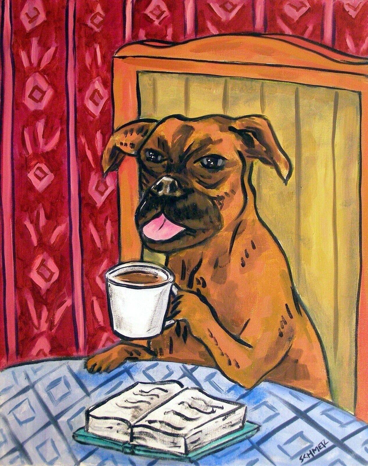 SCHIPPERKE dog art PRINT poster gift JSCHMETZ modern folk 8x10 coffee