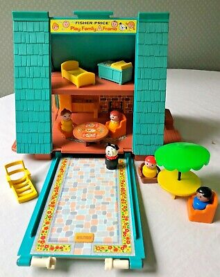 Vintage 1970's Fisher Price A Frame House with Accessories
