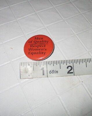 Vintage 70s feminist Women's Rights equality quality men orange pinback button