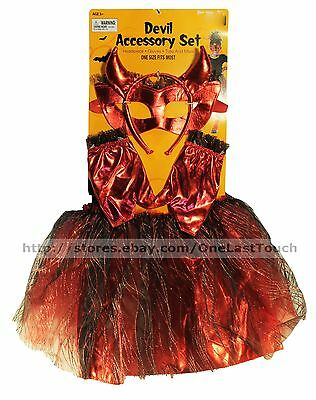 HALLOWEEN 4pc Costume DEVIL Accessory Set/Kit FOR KIDS Tutu+Mask+Gloves+HEADBAND - Halloween Devil Costume For Kids