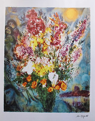 "MARC CHAGALL ""ORIGINAL BOUQUET"" Limited Edition Facsimile Signed Lithograph Art"