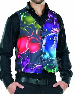 Kostüm schwarze Herren Weste mit LED bunte Seifenblasen Bubble Karneval Fasching ()