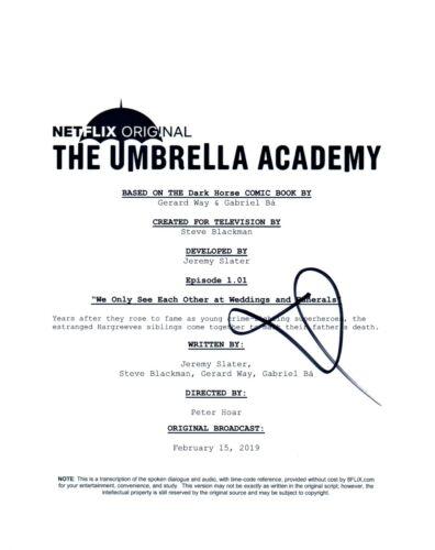 David Castaneda Signed Autograph THE UMBRELLA ACADEMY Pilot Script COA