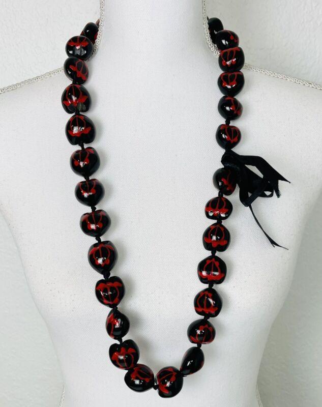 """37"""" Kukui Nut Lei Hawaiian NECKLACE black w/ red hand painted sea turtles EUC"""
