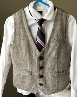 NEXT boys 2-3 yrs white shirt, grey waistcoat/vest & tie