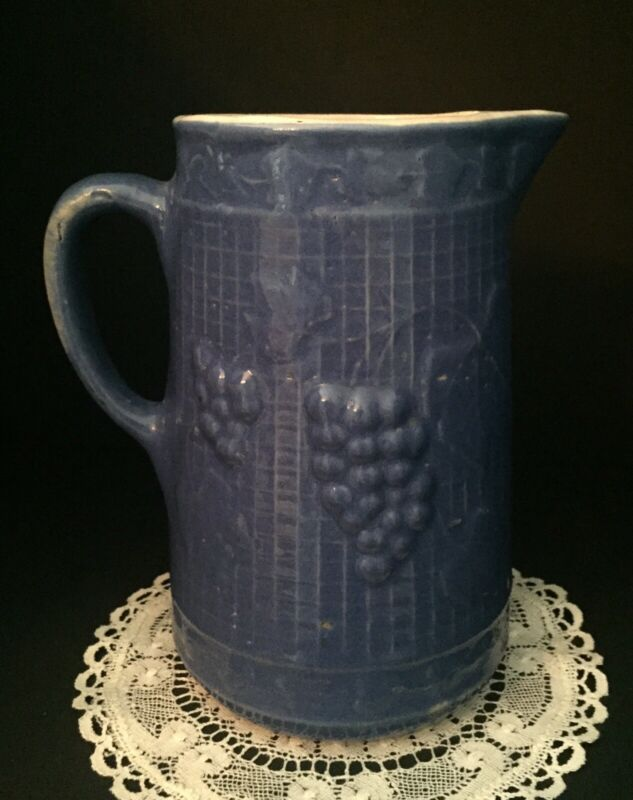 Vintage Blue Stoneware Pitcher w/ Raised Grape Motif Unmarked